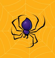 Spider with web background vector