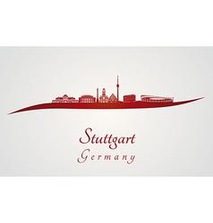Stuttgart skyline in red vector