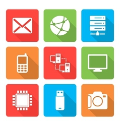 Technology Icons Set with shadow Vol 2 vector image vector image
