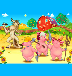 Three little pigs and bad wolf vector