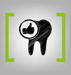 Tooth sign with thumbs up symbol black vector