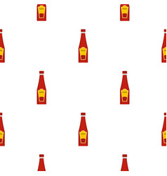 Traditional tomato ketchup bottle pattern seamless vector
