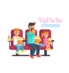 visit to cinema with father poster vector image