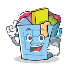 With phone laundry basket character cartoon vector