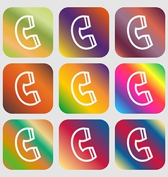 handset icon Nine buttons with bright gradients vector image