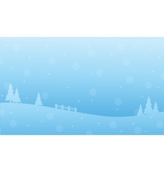 Winter landscape christmas holiday of silhouettes vector