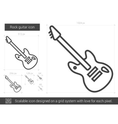 Rock guitar line icon vector