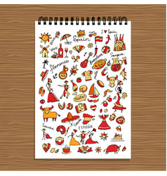 spain icons collection sketch for your design vector image