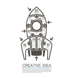 rocket icons of puzzles art vector image