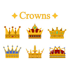 Set of gold king crown or pope tiara vector