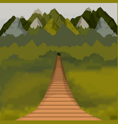 Colorful background of outside suspension bridge vector