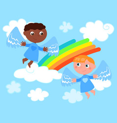 Caucasian and african cute angels vector