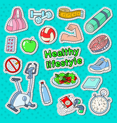 Healthy lifestyle sport doodle with gym vector