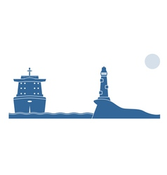 Industrial ship and lighthouse in the sea vector