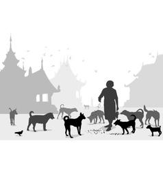 Temple dog carer vector image