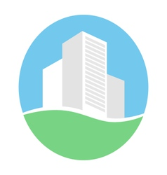 Emblem with buildings in eco place isolated on vector