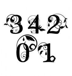 Floral font numbers vector