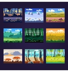 Set of seamless cartoon landscapes for game design vector