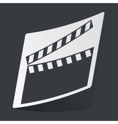 Monochrome clapperboard sticker vector