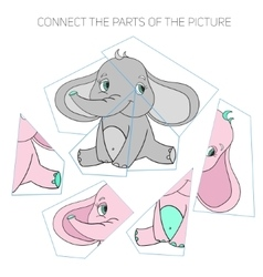 Puzzle game for chldren elephant vector