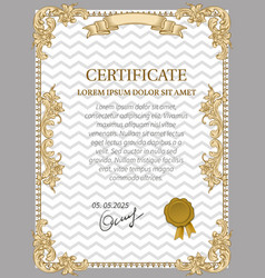 Gold certificate of achievement vector