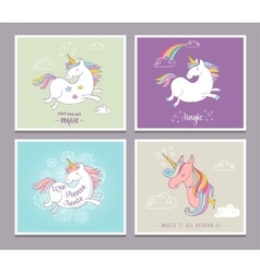 Cute magic unicon and rainbow greeting cards vector