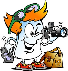 Cartoon of a Happy Editor Paper Photographer vector image
