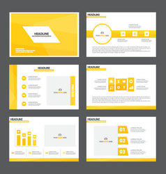 Yellow theme presentation templates infographic vector
