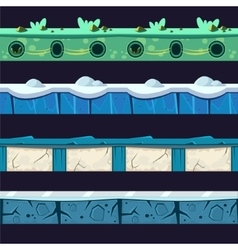 Water And Ice Platformer Level Floor Design Set vector image
