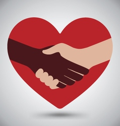 Diversity Handshake On Red Heart vector image