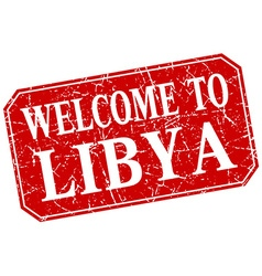 Welcome to libya red square grunge stamp vector