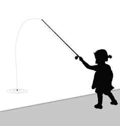 Child fishing black vector
