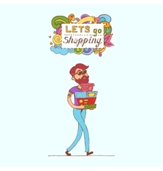 Happy doodle consumer with a full shopping bags in vector