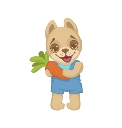 Puppy holding a carrot vector