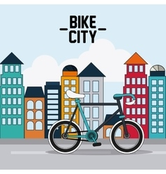 Classic bicycle bike and city icon sport concept vector