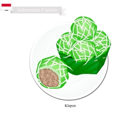Klepon or indonesian stuffed pandanus rice balls vector