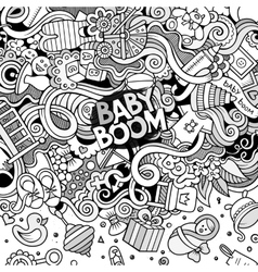 Cartoon doodles baby boom frame vector