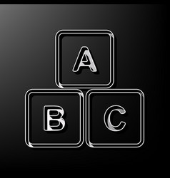 Abc cube sign gray 3d vector