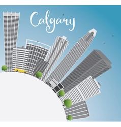 Calgary skyline with gray buildings vector