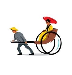 China rickshaw cartoon vector