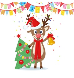 Christmas Card with Cartoon Deer vector image