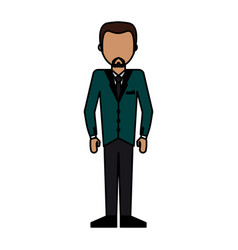 Colorful caricature image faceless man formal suit vector