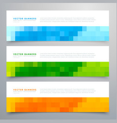 Colorful mosaic banners set of three vector