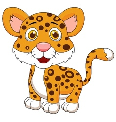 Cute baby jaguar cartoon vector