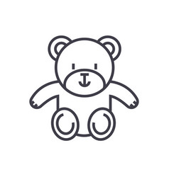 cute teddy bear line icon sign vector image vector image