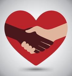 Diversity handshake on red heart vector