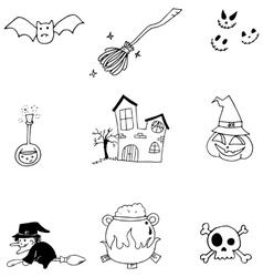 Element halloween doodle flat vector