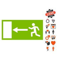 Emergency exit icon with lovely bonus vector