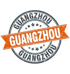 Guangzhou red round grunge vintage ribbon stamp vector