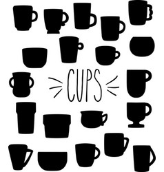 hand drawn silhouette cups mugs bowls vector image vector image